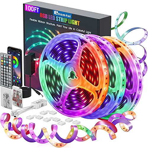Ehomful Led Strip Lights 100ft,Ultra Long RGB 5050 Smart Led Light Strips Kit with App Control and 44 Keys Remote ,Music Color Changing Led Lights for Bedroom,Room,Apartment,Kitchen,Party Decorations