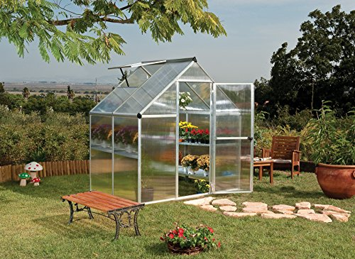 Palram Mythos 6x4 ft Silver Greenhouse -TwinWall Polycarbonate, Aluminum Frame, Base Included