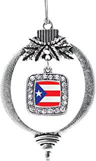 Inspired Silver - Puerto Rico Flag Charm Ornament - Silver Square Charm Holiday Ornaments with Cubic Zirconia Jewelry