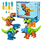 Lekebaby Dinosaurier Montage Spielzeug, 4 Stück Dinosaurier Spielzeug mit Werkzeugen DIY Gebäude Spielzeug für Kinder Jungen Mädchen 3 Jahren