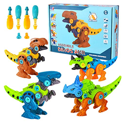 Lekebaby Take Apart Dinosaur, 4-Pack DIY Dinosaur Toy Construction Set with Drills, STEM Gifts Dinosaur Toys for Boys 3 4 5 6 7 Years Old and Up
