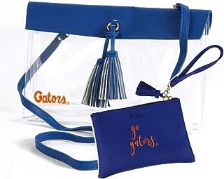 Desden Florida Gators Clear Handbag and Wristlet Combo with Logo, Vegan Leather Trim and Tassels