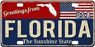 InterestPrint Florida Sunshine State Rusty Metal Sign American Flag Automotive Metal License Plates Decor Decoration, Car Tag Woman Man - 12 x 6 inch