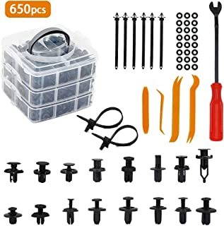 hikotor 650 Pcs Car Push Retainer Clips & Auto Fasteners Assortment -16 Most Popular Sizes Nylon Bumper Fender Rivets with Reusable and Adjustable 6 Cable Ties and Fasteners Remover