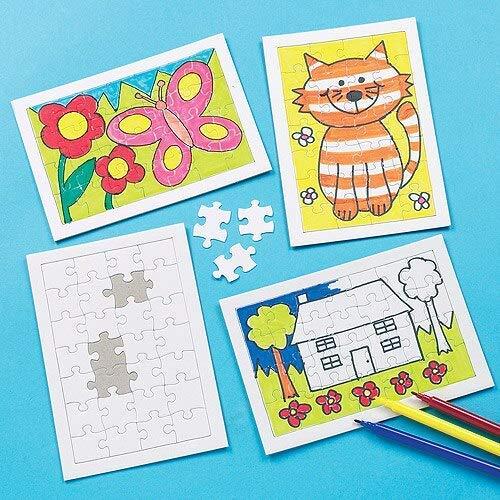Baker Ross E2274 Ross Blanko-Puzzles - für Kinder zum Malen von Motiven und zum Spielen - für Kindergeburtstag - 6 Stück