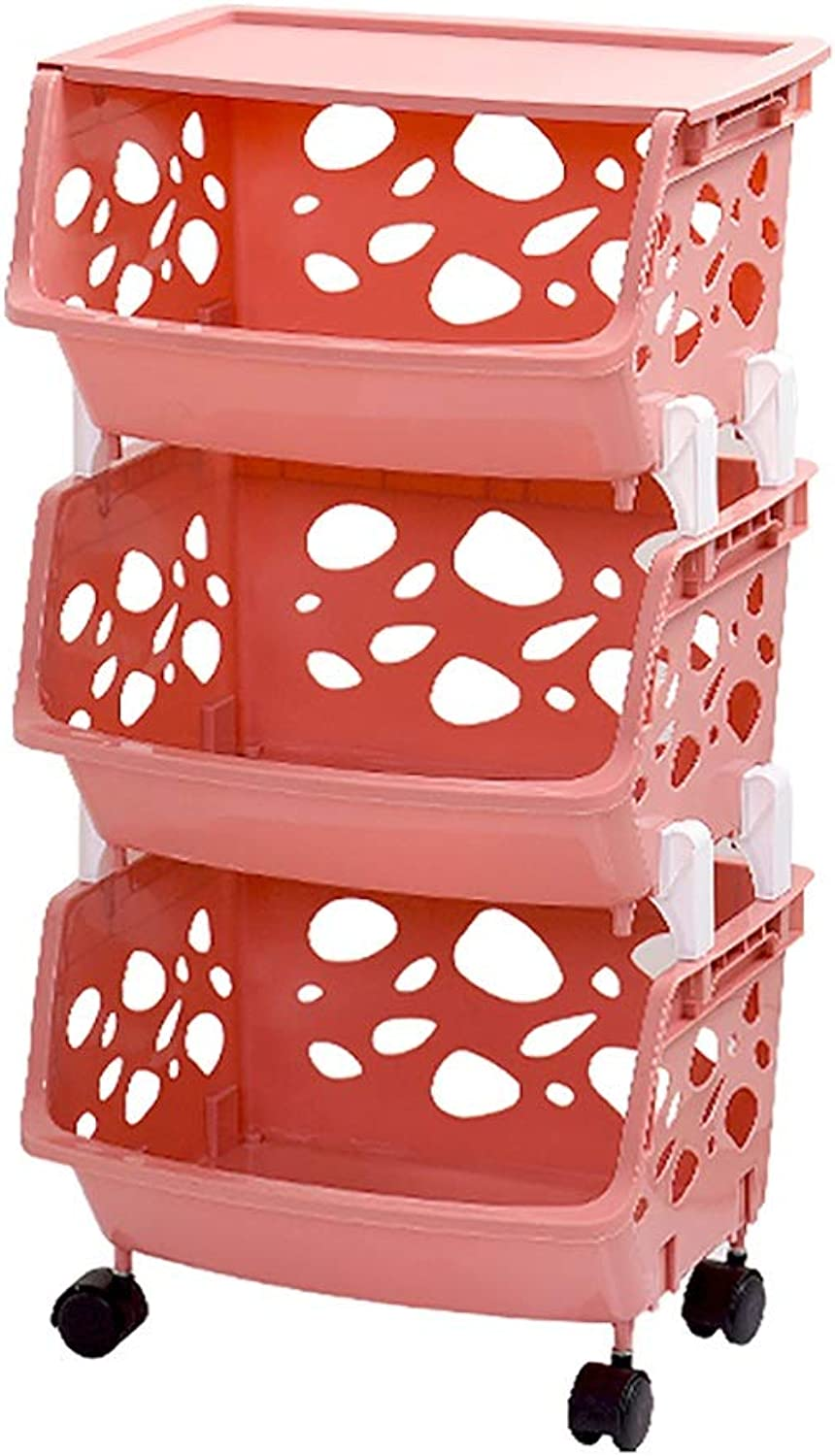 4 Tier Storage Stacking Basket Multi-Function Plastic Fruit Vegetable Storage Shelf with Storage Box for Kitchen Bathroom (color   C, Size   39  34  75CM)
