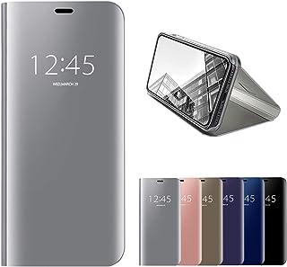 جراب قلاب بمرآة من HMOON لهاتف Xiaomi Redmi Note 9 Pro 5G/Mi 10T Lite 5G فضية، جلد PU ممتاز + غطاء خلفي صلب من البولي كربو...