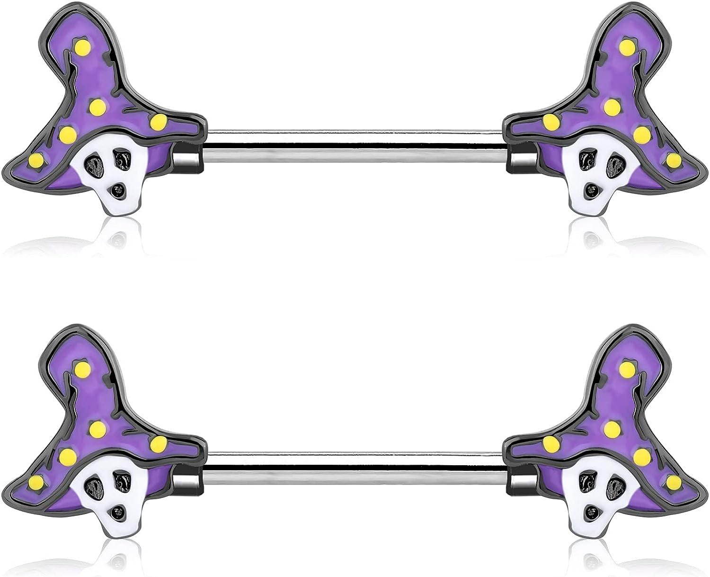 OUFER 14G Nipple Rings 316L Stainless Steel Nipple Rings Piercing Set Skull Purple Witch Hat Halloween Nipple Piercing Jewelry