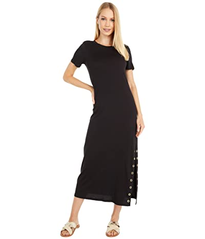 MICHAEL Michael Kors Petite T-Shirt Midi Grommet Dress (Black) Women
