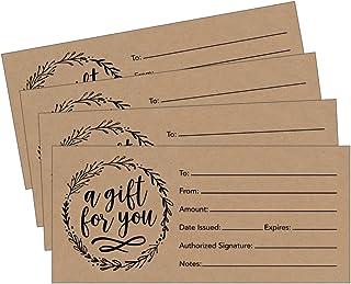 25 x 9 乡村风格可爱空白礼品证书卡,适合商务,现代餐厅,Spa,美妆化妆品沙龙,婚礼,新娘,婴儿淋浴定制个性化批量模板套装可打印