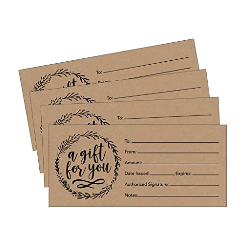 25 4x9 Rustic Blank Gift Certificate Cards Vouchers for Holiday, Christmas, Birthday Holder, Small Business, Restaurant, Spa Beauty Makeup Hair Salon, Wedding Bridal, Baby Shower Cash Money Printable