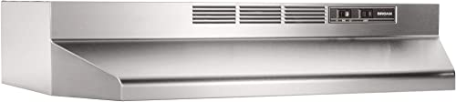 Broan-NuTone 413604 Non-Ducted Ductless Range Hood Insert with Light, Exhaust Fan for Under Cabinet, 36-Inch, Stainle...