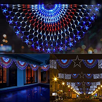 DDMY 243 LEDs American Flag Lights, Waterproof Led Half Fan Flag Light of The United States for Yard Garden Decoration, Festival, Holiday, 4th of July Independence Day Party Decorations