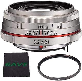 Pentax HD Pentax DA 21mm f/3.2 AL Limited Lens (Silver) + UV Filter + Microfiber Cloth Bundle