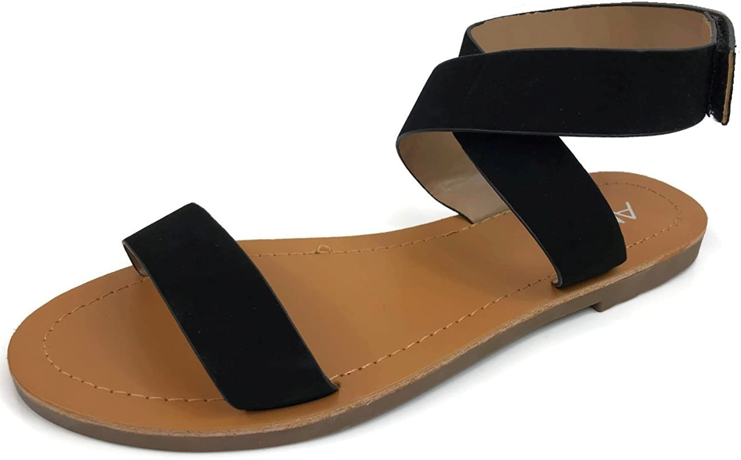 Anna Fashion Womens Cute Ankle Wrap Sandal with Over Toe Strap Flat