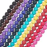 OLYCRAFT 470 Pezzi 8mm Perle di Roccia Vulcanica, 10 Colori Chakra Beads, Perle di Lava Curative Energetiche, Perline Sciolte di Pietre Preziose Rotonde per La Realizzazione di Gioielli