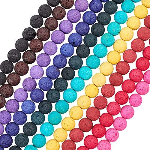 OLYCRAFT 470 Piezas Cuentas Volcánicas De 8 mm Cuentas De Chakra De 10 Colores Cuentas De Lava Curadas por Energía Cuentas De Joyería De Gemas Redondas