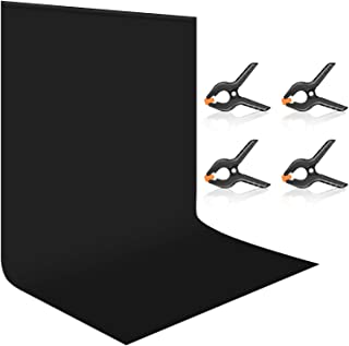 Neewer 10 x 12 feet/3 x 3.6 Meters Black Backdrop Screen, Collapsible Polyester Backdrop Background Screen with 4 Spring C...