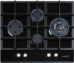 Cata | Placa Cristal Gas | Modelo LCIB 6031 BK | 4 Quemadores de gas | Encimera de Gas Butano | Ancho de 64 cm | Color Negro
