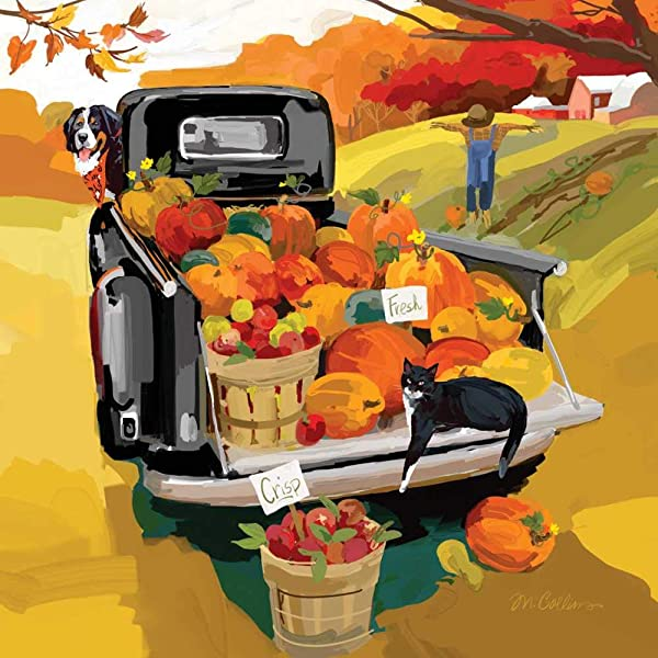Harvest Truck Paper Cocktail Napkins Fall Napkins Fall Entertaining