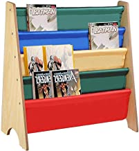 GaGa Wooden Sling Fabric Bookcase Bookshelf Nature Magazine Book Kids Bedroom Storage Collapsible Cubes Space Saving