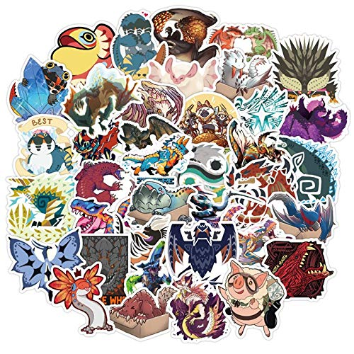 ZXXC 50Pcs Monster Hunter Game Stationery Sticker For Car Laptop Pvc Backpack Home Decal Pad Bicycle Waterproof Diy Classic Toys
