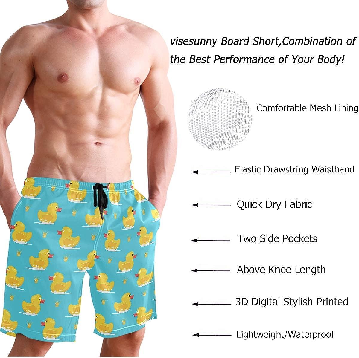 visesunny Modern Men's Beach Shorts Swim Trunks Quick Dry Casual Polyester Swim Shorts