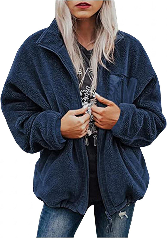 Women's Fleece Coats & Jackets 2021, Fall Winter Long Sleeve Zip up Sherpa Jacket Thick Plush Lapel Coat Casual Warm Cardigan