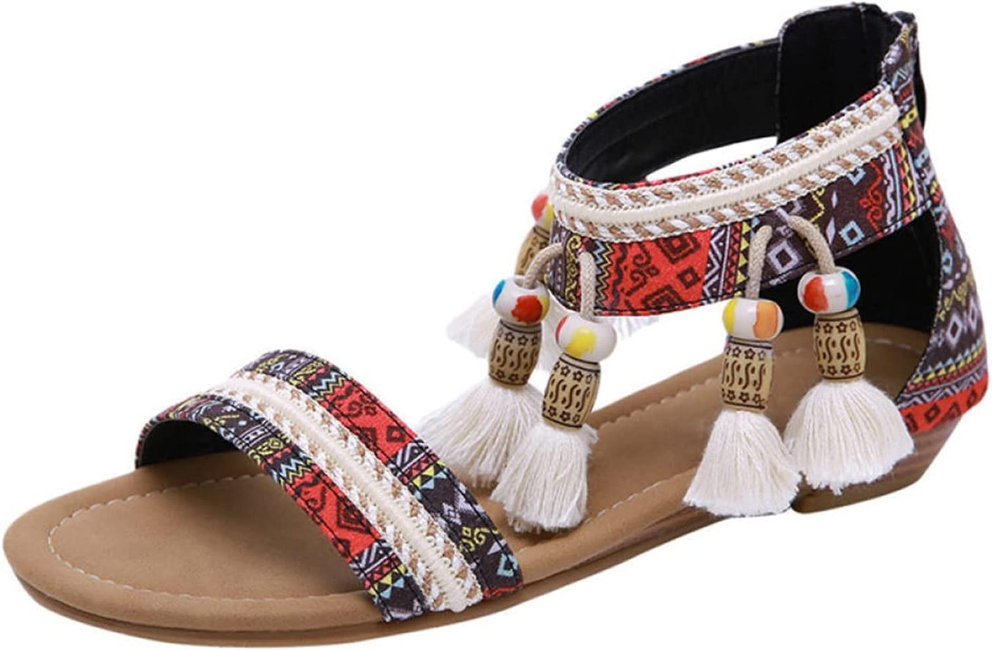 LYNLYN Sandals Ladies Sandals Summer Ladies Bohemian Style Flat Shoes Women Sandals Rhinestone Sandals Beach Comfortable Slippers Ladies Sandals (Color : Black, Size : 6)