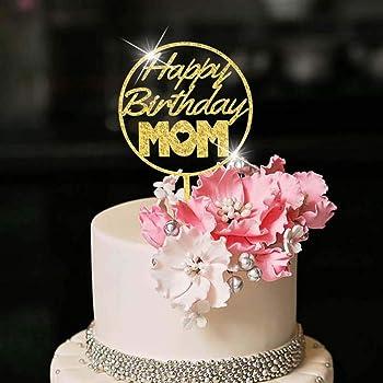Excellent Amazon Com Yuinyo Happy Birthday Cake Topper For Mom Party Cake Personalised Birthday Cards Vishlily Jamesorg