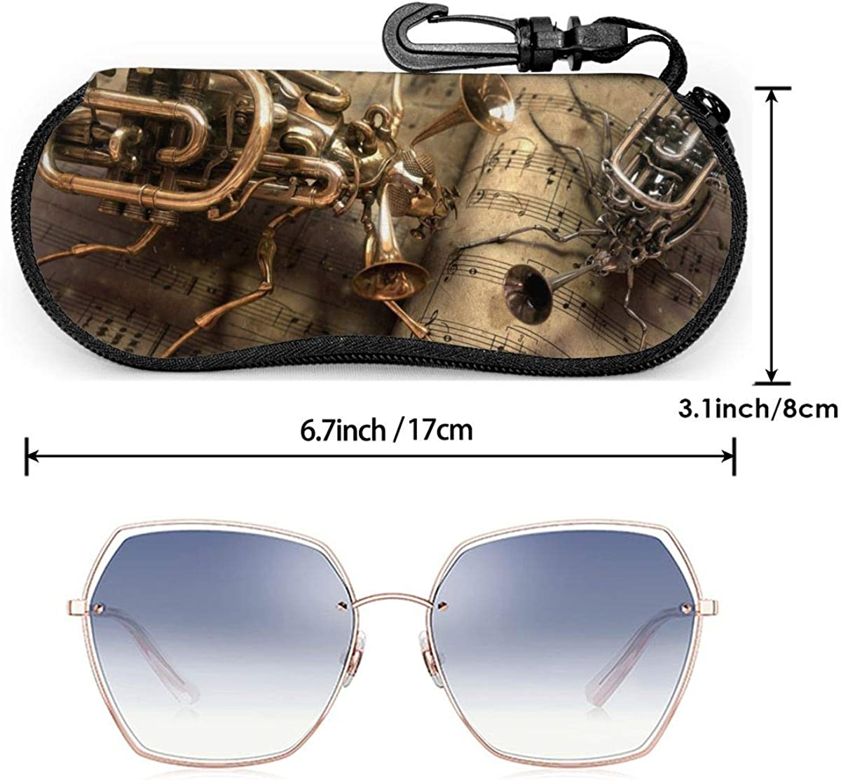 Soft Sunglasses Case With Carabiner Keychain Astronaut Pattern Ultra Light Portable Neoprene Zipper Eyeglass Bag