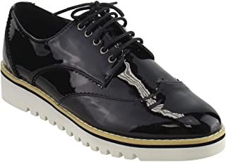 Cape Robbin Women's Fashion Patent Metallic Leather Lace Up Platform Oxford Sneakers Shoes
