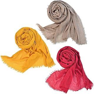 Wobe 3pcs Women Soft Cotton Hemp Scarf Shawl Long Scarves, Travel Sunscreen