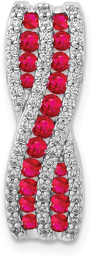 Charm Popular brand in the world Pendant 14K White Gold Cheap super special price Ruby Diamond Round .45 Red Fancy