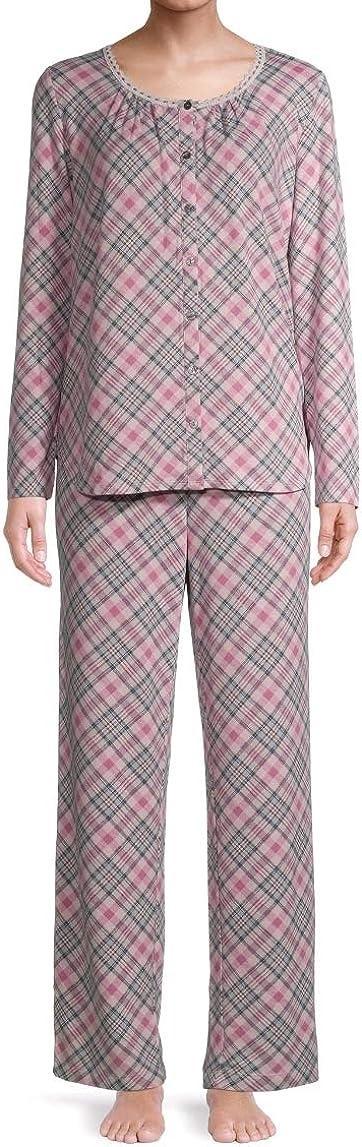 Pink Crystal Plaid Long Sleeve V-Neck Pajama Sleep Set