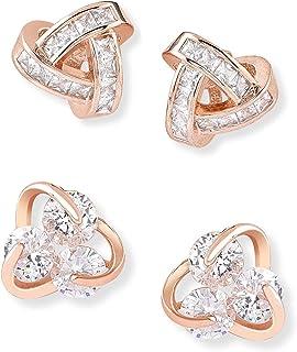 Zaveri Pearls Set of 2 Rose Gold Contemporary Cubic Zirconia Brass Stud Earrings For Women-ZPFK11150