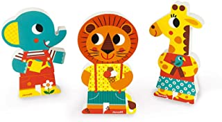 Janod J08030 3 Funny Magnetic Wooden Characters, Zoo