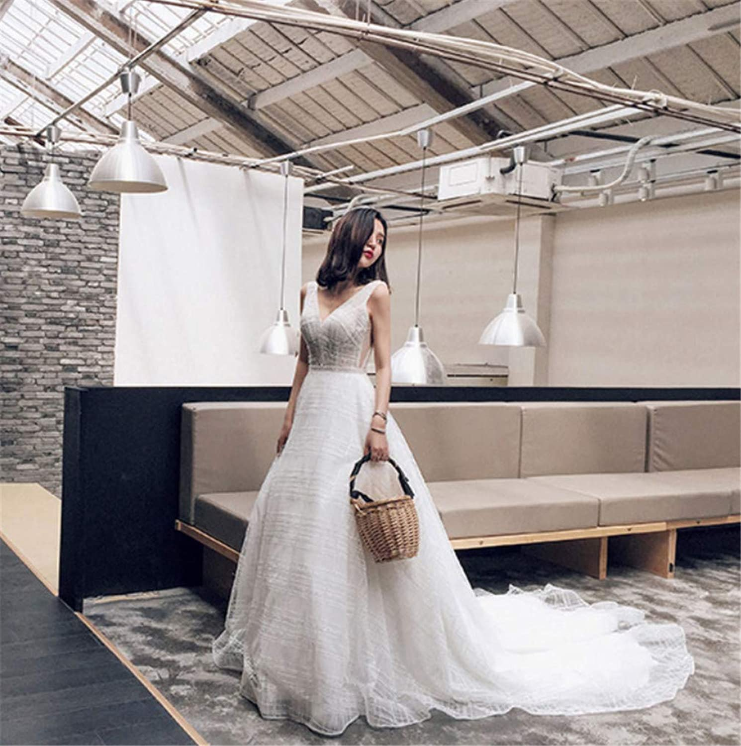 Wedding Dress, Europe and America Sexy Perspective Lace Manual Nail Drill VNeck Halter Long Long Tail Wedding Dress