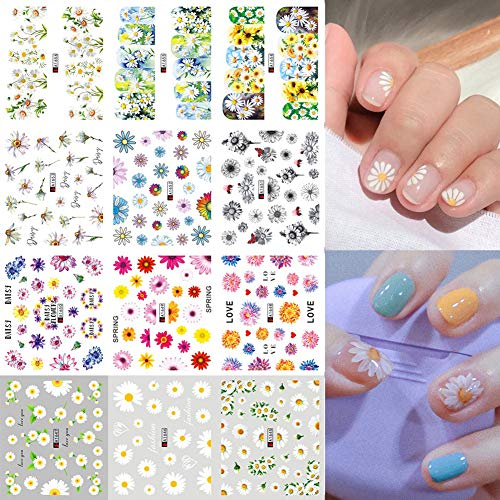 Daisy Nail Water Stickers Decals Sunflower Nail Art Sticker Foil Transfer Summer Nail Art Decorations Watermark Small Daisies Flower Designs Stickers Nail Tattoo Manicure Tips Decoration 12PCS