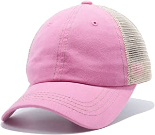 Plain Dyed Trucker Dad Hat Unstructured Buckle Strap Baseball Cap