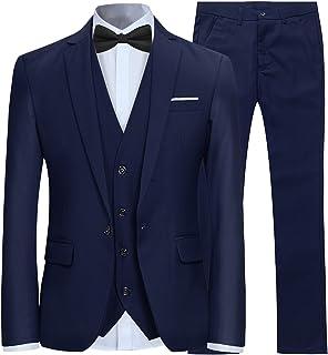 45738876545 Costume Couleur Unie en cérémonie Mariage Veste Gilet et Pantalon Homme  Slim fit