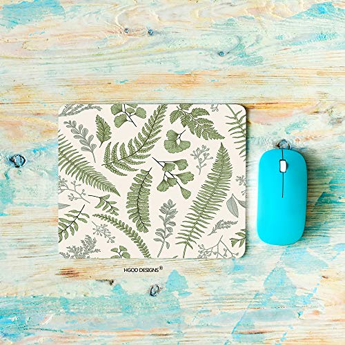 HGOD DESIGNS Gaming Mouse Pad Leaves,Green Leaves and Fern Pattern Mousepad Rectangle Non-Slip Rubber Mouse Pads(7.9'X9.5')