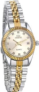 JewelryWe Luxury Couple Watches Gold-Silver Tone Stainless Steel Quartz Calendar Wristwatch Rhinestone His and Her Watch Set