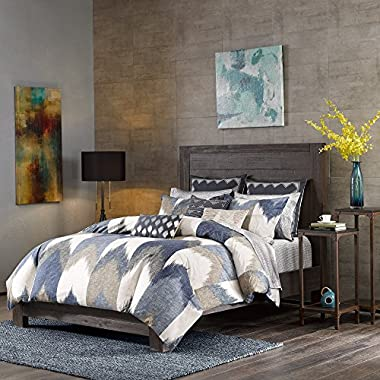 Ink+Ivy Alpine Full/Queen Size Bed Comforter Set - Navy, Taupe, Ivory, Pieced Chevron – 3 Pieces Bedding Sets – 100% Cotton Bedroom Comforters