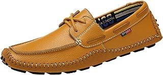 XFQ Chaussures Bateau Hommes, Casual Légère Mocassins Douce Sole Driving Mode Chaussures en Cuir,Marron,37EU