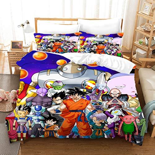 Batte Bettwäsche für Kinder, 100 % Mikrofaser, Motiv Dragonball Z Goku 3D Bettbezug (M,135 x 200 cm)