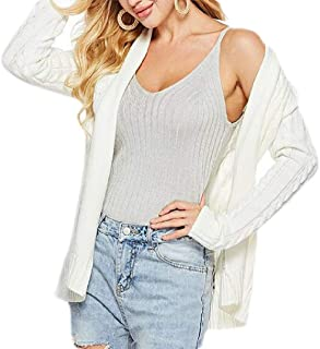 Women's Casual Long Sleeve Open Front Cable Twist Knit Cardigan Sweaters Coat with Belt