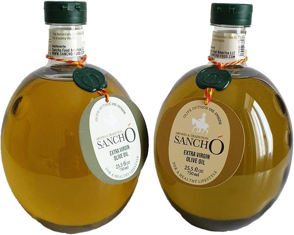 Aroma & Tradition Sancho – Pack de 2 Aceite de Oliva Virgen Extra - 1 Botella Coupage Picual y Cornicabra 750 ml + 1 Botella de AOVE Arbequina 100% 750 ml - Formato Ideal para Utilizar en Casa
