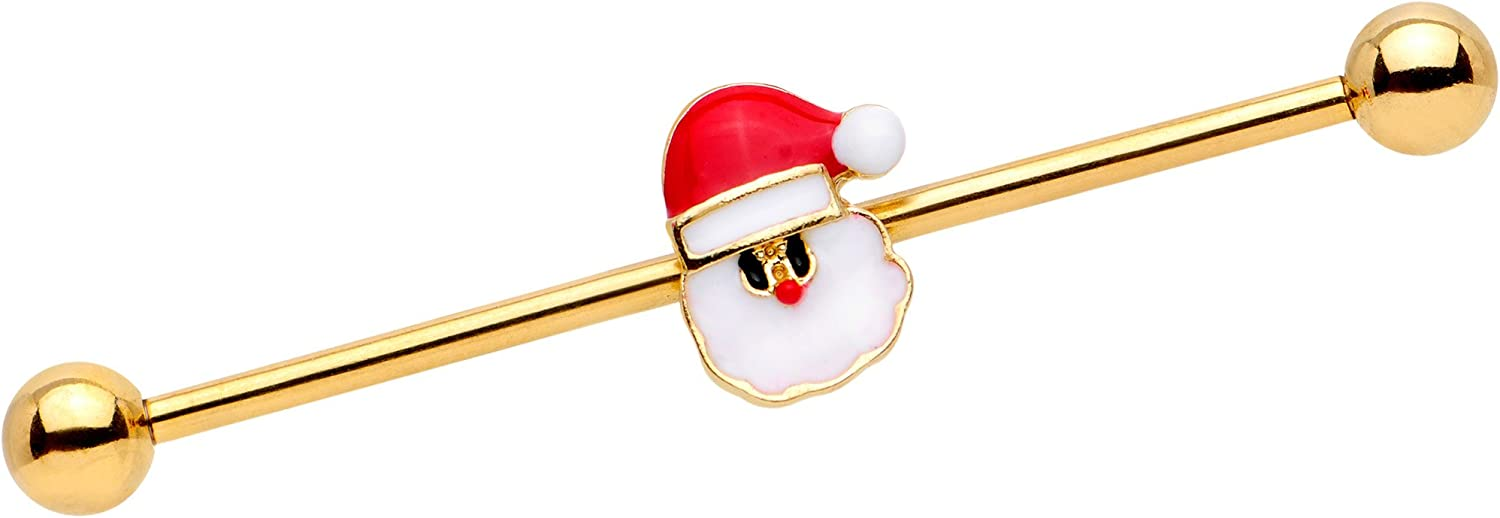 Body Candy Gold PVD Steel Santa Claus is Here Christmas Helix Earring Industrial Barbell Piercing 14 Gauge 38mm