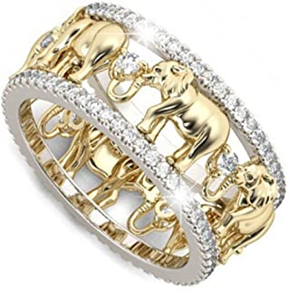 MAIHAO Yellow Gold Lucky Gold Elephant 925 Silver 1.5Ct White Topaz Wedding Women Men Ring Size 6-10 (US Code 10)